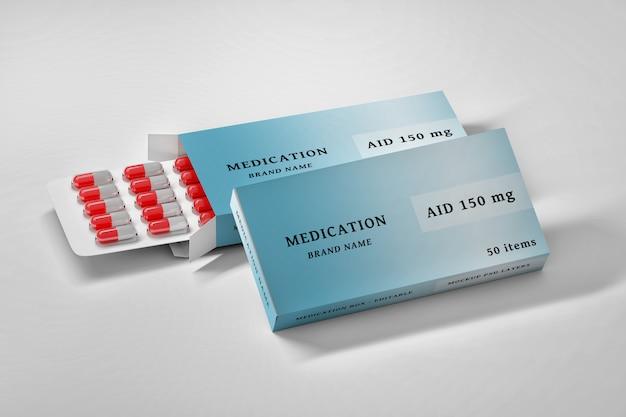 Briefpapier bearbeitbares psd-modell mit medikamentenboxen und pillen Premium PSD