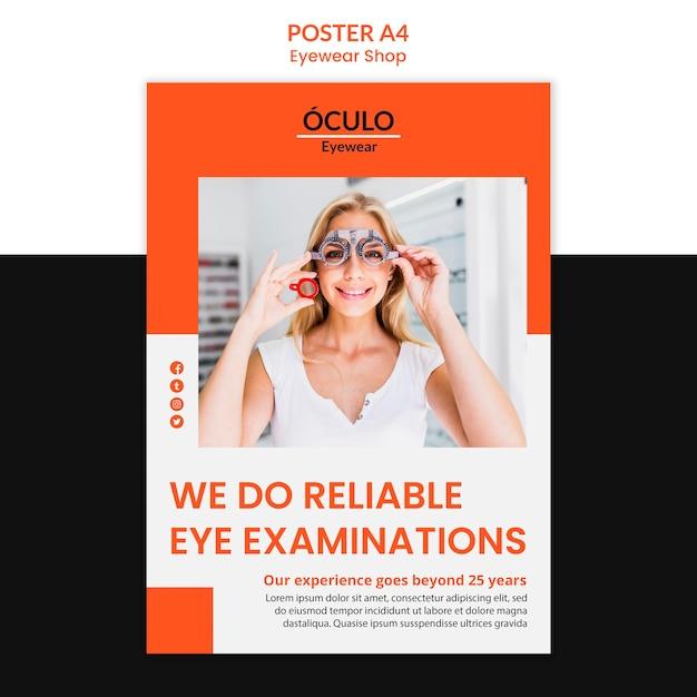 Brillen shop konzept poster vorlage Kostenlosen PSD