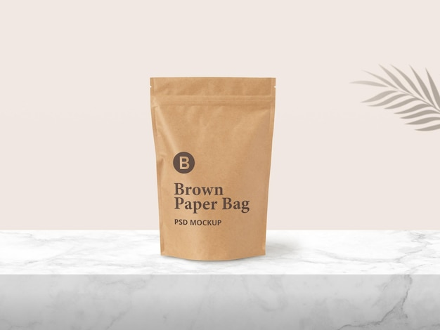 Brown paper zip pouch verpackungsmodell Premium PSD