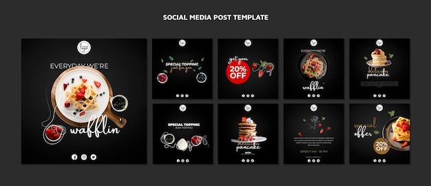 Brunch restaurant design social media post Kostenlosen PSD
