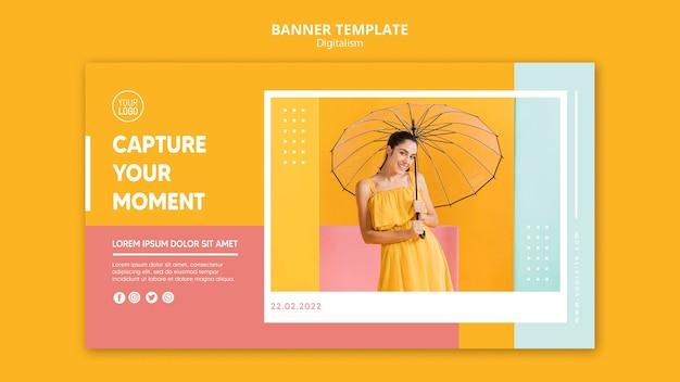 Bunte digitalismusfahnenschablone mit foto Kostenlosen PSD