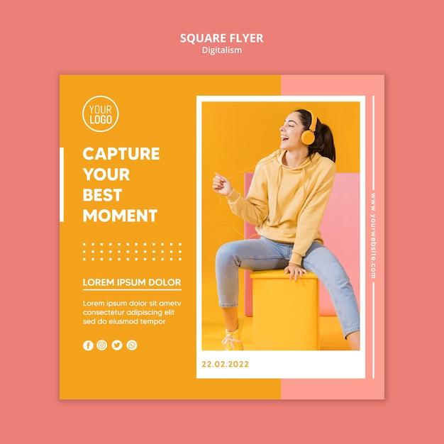 Bunter digitalismusflieger mit foto Premium PSD