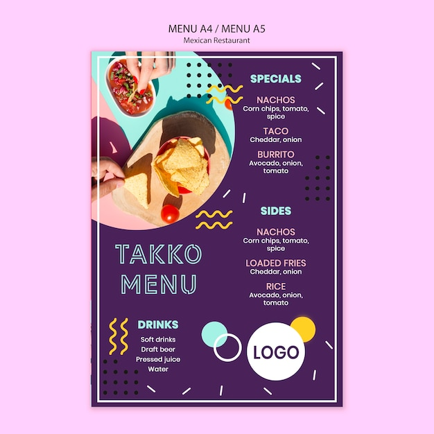 Buntes mexikanisches restaurantlebensmittelmenü Kostenlosen PSD