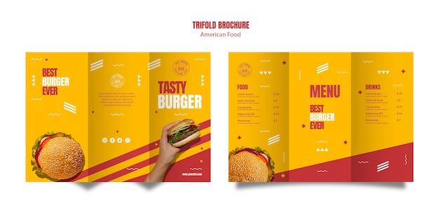 Burger american food trifold broschüre vorlage Kostenlosen PSD