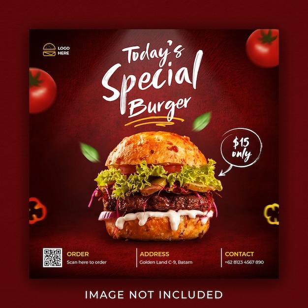 Burger food menü förderung social media instagram post banner vorlage Premium PSD