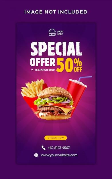 Burger food menü promotion instagram geschichten banner vorlage Premium PSD