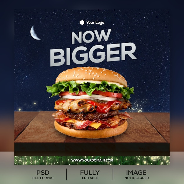 Burger instagram post vorlage Premium PSD