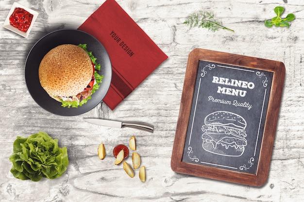 Burger-menü-modell Premium PSD