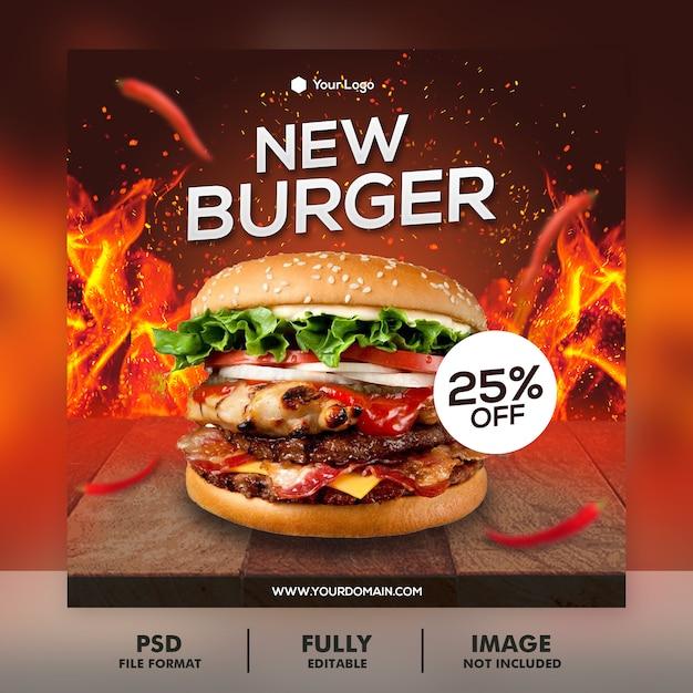 Burger menü promotion banner vorlage Premium PSD