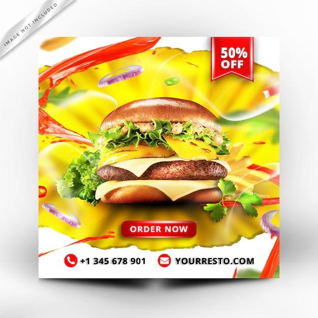 Burger menü promotion banner Premium PSD