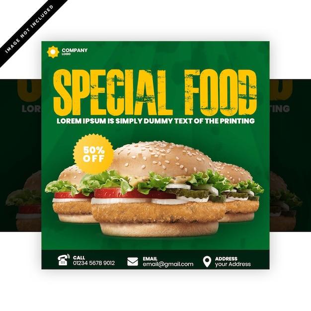 Burger square flyer Premium PSD