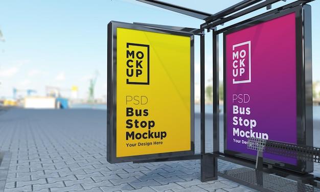 Bushaltestelle bus shelter sign mockup 3d rendering Premium PSD
