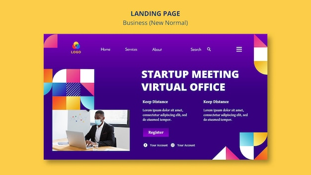 Business neues normales landingpage-design Kostenlosen PSD