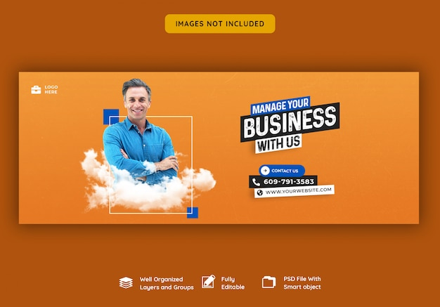 Business promotion und corporate facebook cover-vorlage Premium PSD
