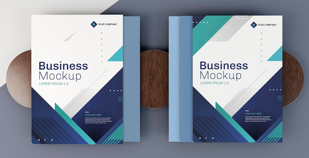 Business stationery mock-up arrangement cover bücher Kostenlosen PSD
