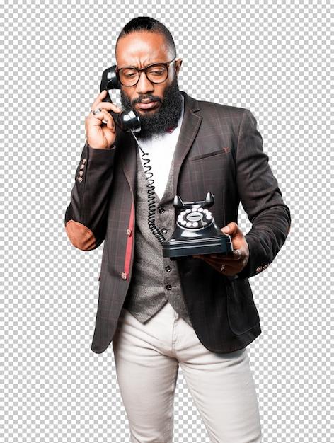 Bussines schwarzer mann, der per telefon spricht Premium PSD