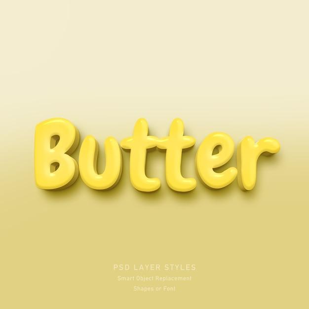Butter 3d text style effekt psd Premium PSD