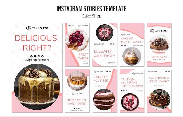 Cake shop konzept instagram geschichten vorlage Kostenlosen PSD