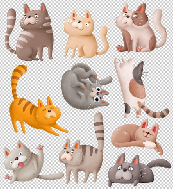 Cartoon katzen Premium PSD