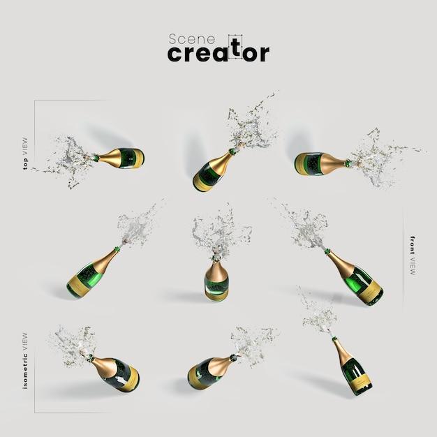 Champagne-vielzahlwinkelweihnachtsszenenschöpfer Kostenlosen PSD