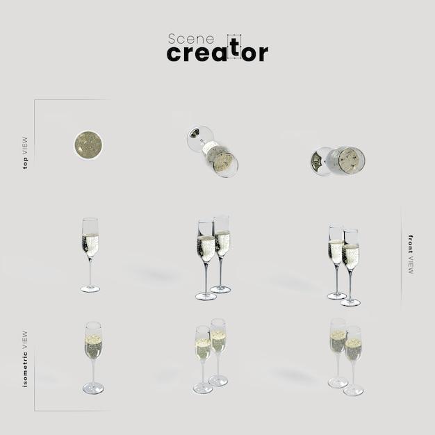 Champagner gläser vielzahl winkel weihnachtsszene schöpfer Kostenlosen PSD