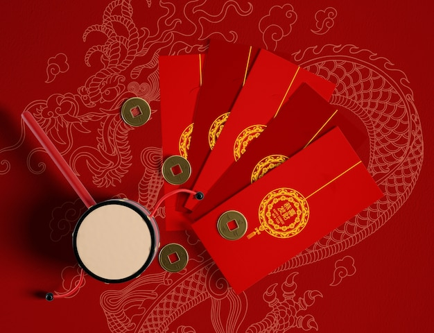 Chinesische art der guten rutsch ins neue jahr-grußkarten Kostenlosen PSD