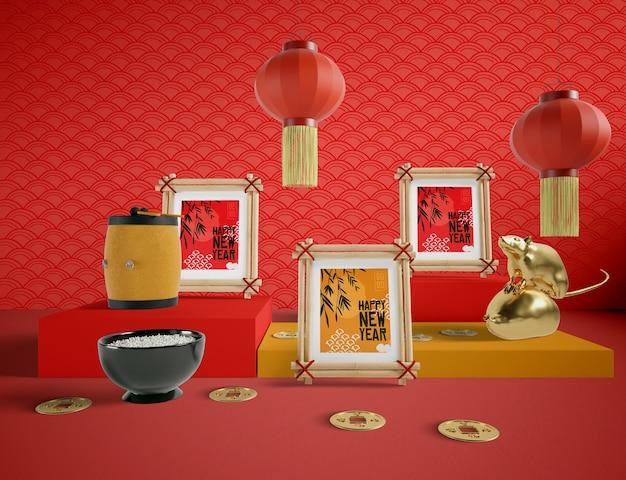 Chinesische art der guten rutsch ins neue jahr-illustration Kostenlosen PSD
