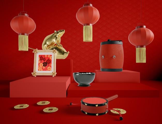 Chinesische illustration des neuen jahres mit traditionellen elementen Kostenlosen PSD