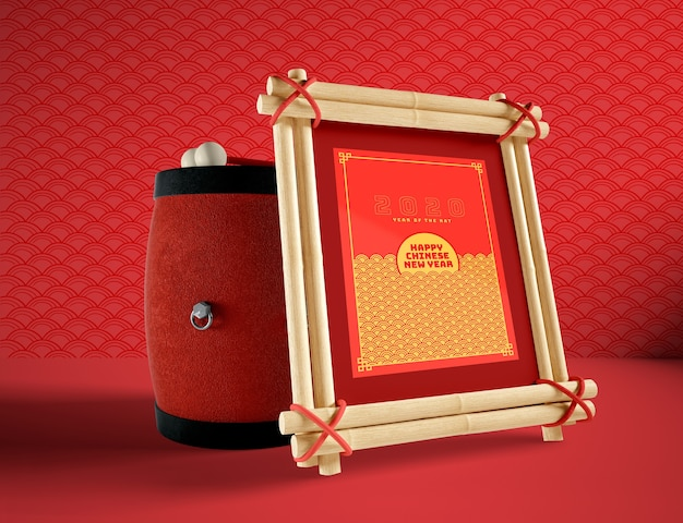 Chinesische illustration des neuen jahres mit trommel- und rahmenmodell Kostenlosen PSD