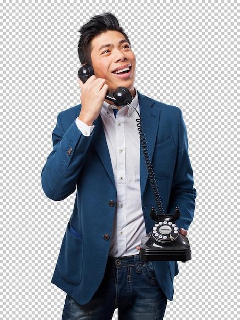 Chinesischer mann, der mit telefon spricht Premium PSD