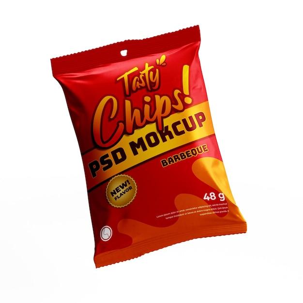Chip snack matt doff plastikfolie tasche produkt lebensmittelpaket fliegende modell vorderansicht Premium PSD