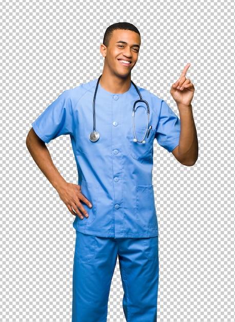 Chirurg doktormann, der einen finger im zeichen des besten zeigt und anhebt Premium PSD
