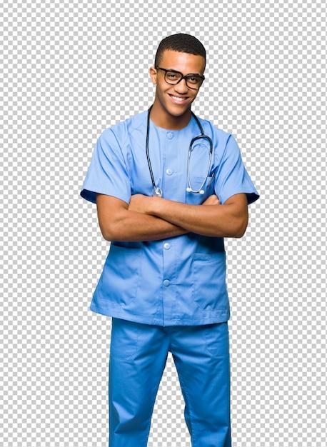 Chirurg doktormann mit brille und lächeln Premium PSD
