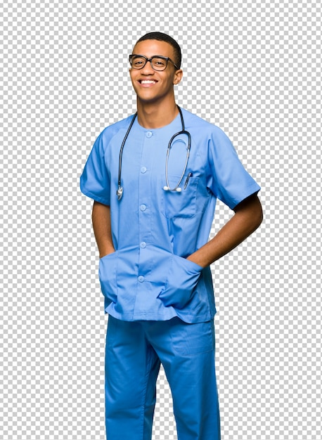 Chirurg doktormann mit gläsern und glücklich Premium PSD