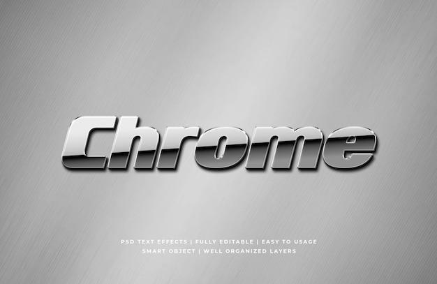 Chromieren sie metallisches art-effektmodell des textes 3d Premium PSD