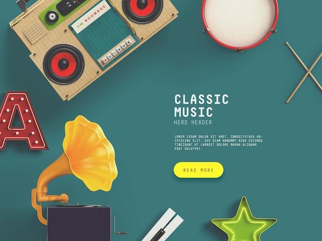 Classic music hero / header benutzerdefinierte szene Premium PSD