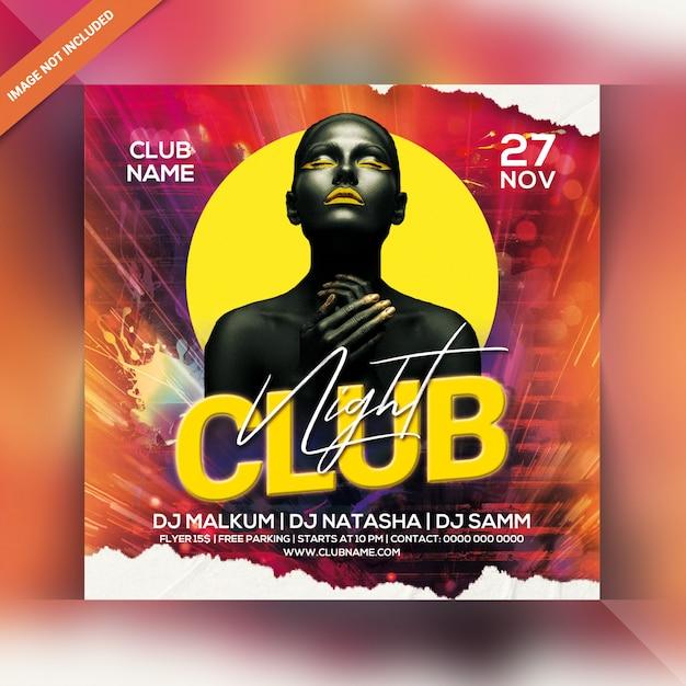 Club nacht party flyer Premium PSD