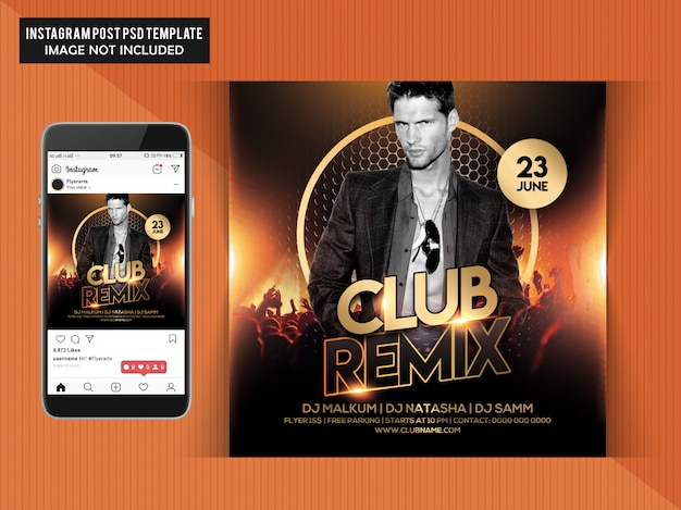 Club-remix-party-flyer Premium PSD
