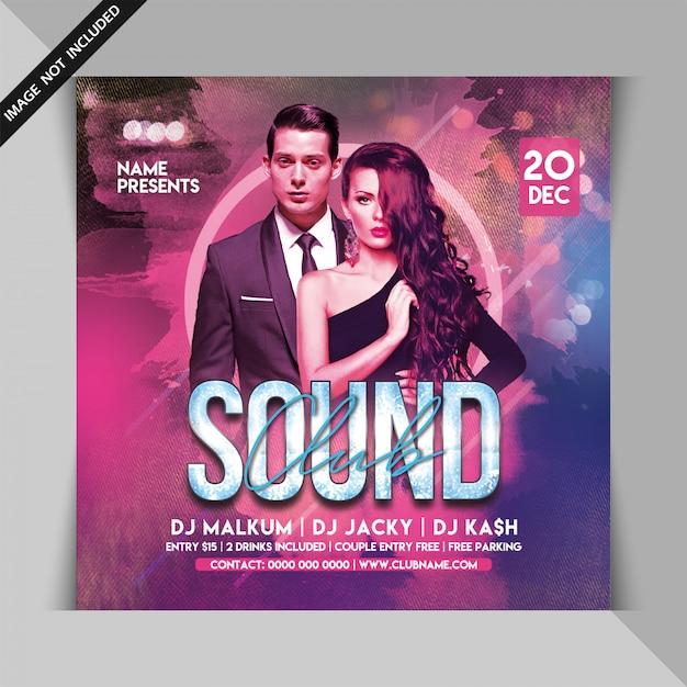 Club sound dj party flyer Premium PSD