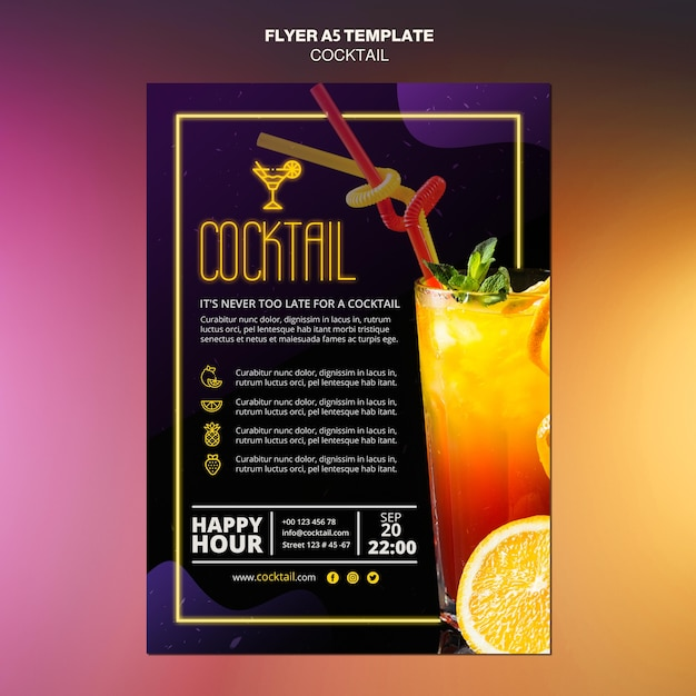 Cocktail konzept flyer vorlage Kostenlosen PSD