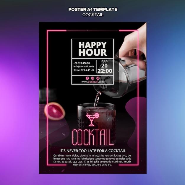 Cocktail-konzeptplakatschablone Kostenlosen PSD