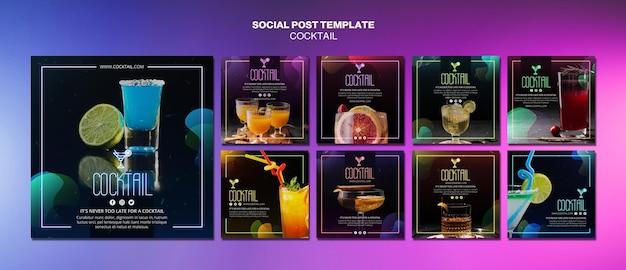 Cocktailkonzept social media post vorlage Kostenlosen PSD
