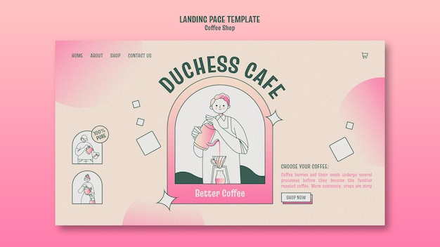 Coffee shop landing page Premium PSD