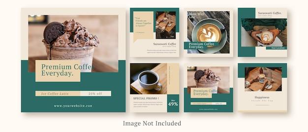 Coffeeshop social media post set vorlage Premium PSD