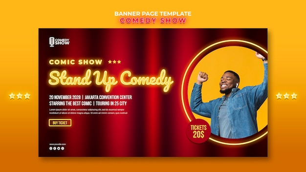 Comedy show banner vorlage Kostenlosen PSD