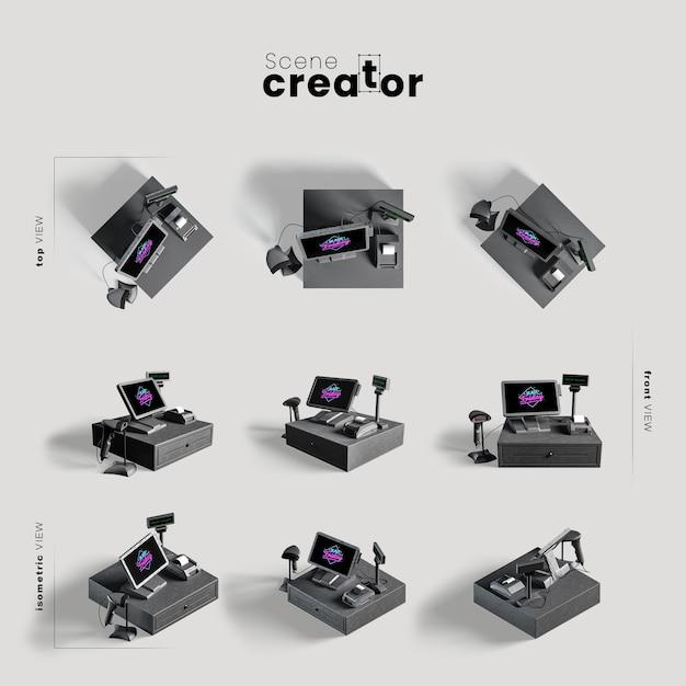 Computer stellte verschiedene winkel für szenenschöpferillustrationen ein Kostenlosen PSD
