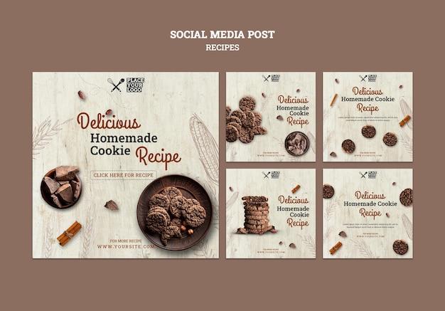 Cookie rezept social media post vorlage Kostenlosen PSD