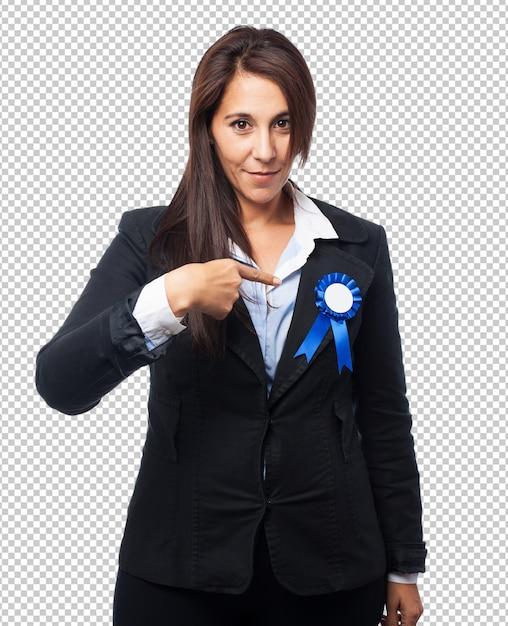 Coole geschäftsfrau mit medaille Premium PSD
