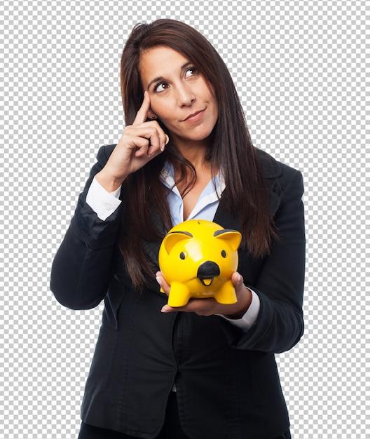 Coole geschäftsfrau mit sparschwein Premium PSD