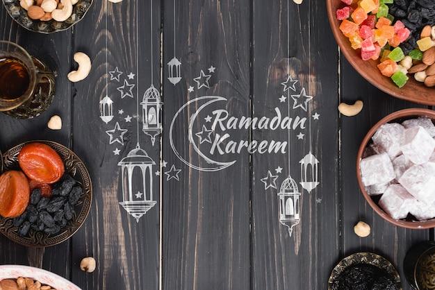 Copyspace-modell mit ramadan-konzept Kostenlosen PSD